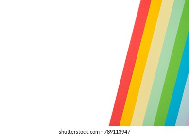 Colorful sheets of paper on white background for design and cards.