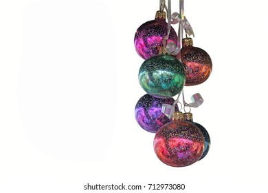 Colorful shiny balls: decoration for Christmas tree. Presented on a white background.