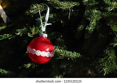 Colorful, shiny and glittery Christmas decorations. Gold and silver decorations including two beautiful silver cones with some glitter. Merry Xmas!