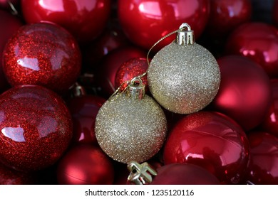 Colorful, shiny and glittery red and gold Christmas decorations. Merry Xmas!