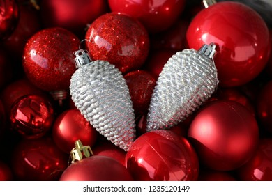 Colorful, shiny and glittery red and silver Christmas decorations. Merry Xmas!