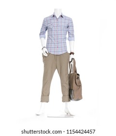 Colorful Shirts clothes with trousers with handbag on male full mannequin