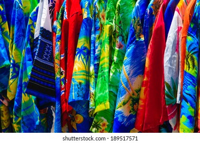 Colorful shirts at a street store, St. Thomas, USVI