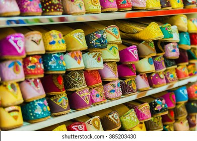 A lot of colorful shoes bazaar