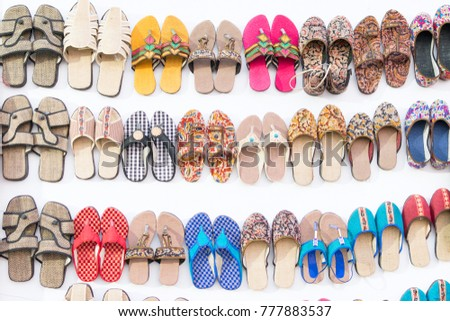 eb083c4a450 Colorful Shoes Handicraft On Display During Stock Photo (Edit Now ...