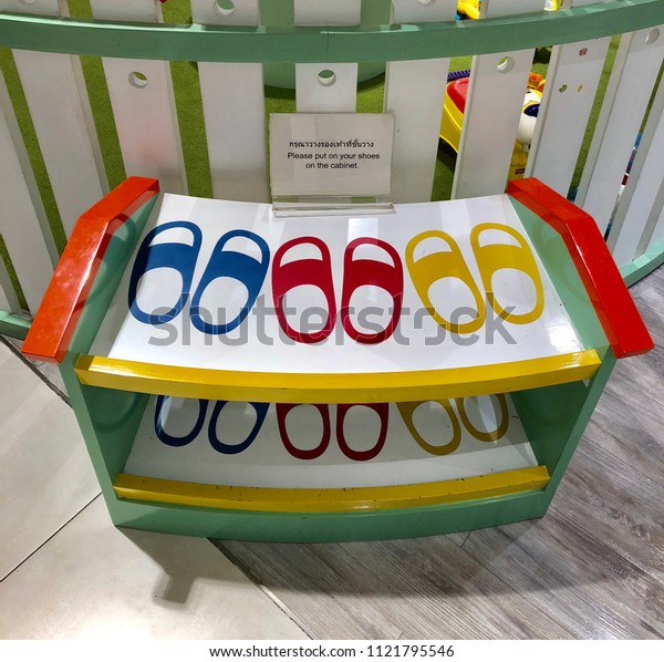 Colorful shoes storage for kids