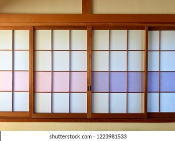 Colorful Shoji window, Japanese architecture for door or window for room divider consisting of translucent paper over a frame of wood