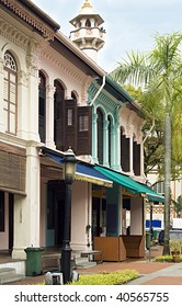 colorful shop house fronts, arab street, singapore
