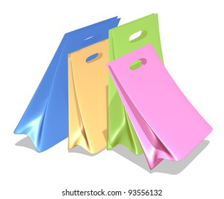 Colorful shopping bags isolated on the white background