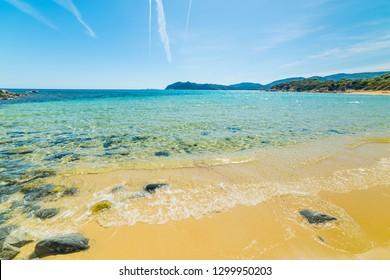 Colorful shore in Cala Monte Turno in Villasimius. Sardinia, Italy