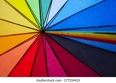 colorful shot of the inside of an umbrella in the symbolic colors of gay rights