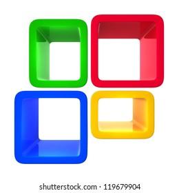 colorful showcase isolated on white background
