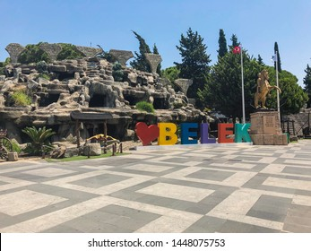 Colorful sign in the city center of Belek, Antalya, Turkey. (July 2019)