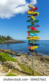 Colorful signpost in Mexico