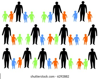 colorful silhouettes of parents walking with children JPG
