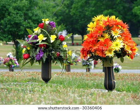Colorful silk flower vases summer cemetery stock photo edit now colorful silk flower vases in summer cemetery mightylinksfo