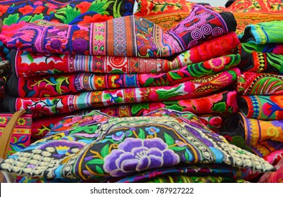 Colorful silk and linen fabric in market in Bangkok Thailand