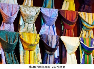 Colorful silk scarfs
