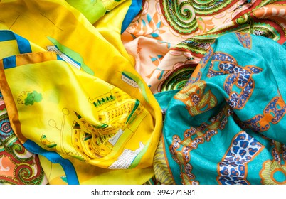 Colorful silk shawls with ornament