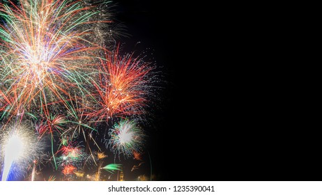 Colorful silvester fireworks background