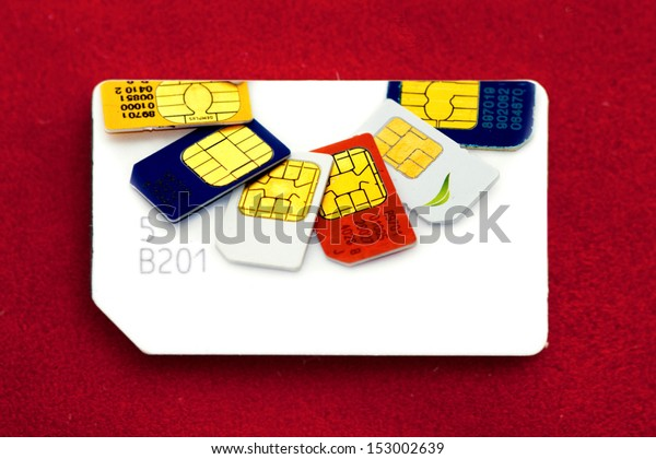 Colorful sim card on a red background