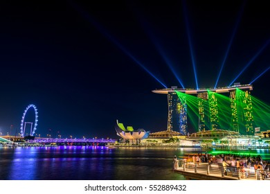 Colorful Singapore building and laser show,Singapore