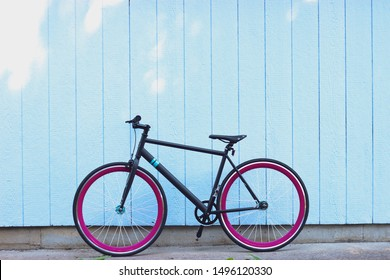 "Colorful single speed bike aka ""fixie"""