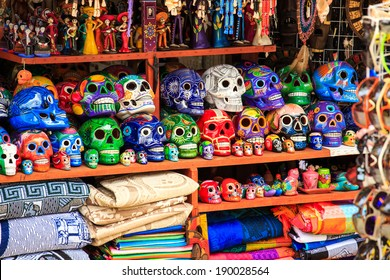 Colorful skulls souvenirs in Playa del Carmen, Mexico
