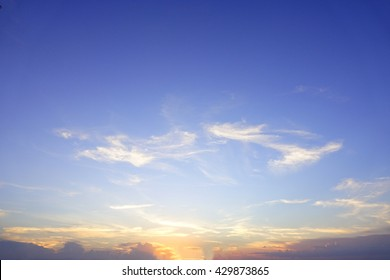 Colorful of sky with clouds in the evening:Select focus with shallow depth of field:Ideal use for background.