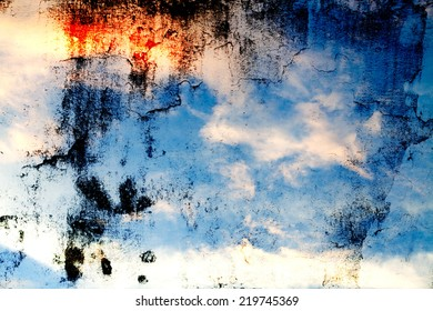 Colorful sky and clouds on the wall background texture