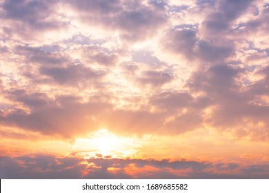 Colorful sky with clouds and sun in twilight time in the morning. Sunrise sky background. - Shutterstock ID 1689685582