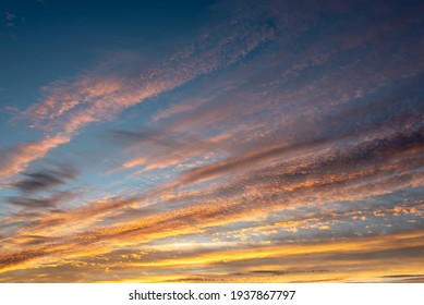 Colorful sky with clouds at sunset, nature background