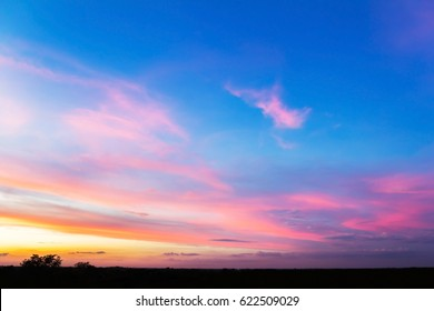 colorful sky with clouds at sunset time