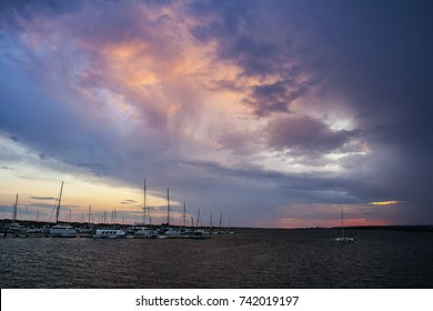 A colorful sky in El Rompido Port, Huelva