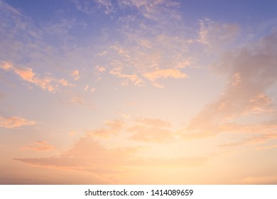 Colorful sky in the morning with sunrise and beautiful cloud fluffy