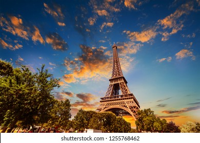 Colorful sky over world famous Eiffel tower at sunset. Paris, France