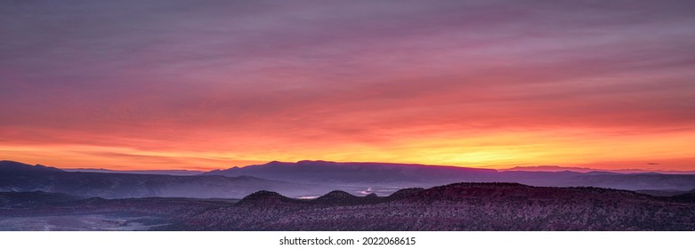 colorful sky over Yampa River at dawn near Dinosaur National Monument in north western Colorado, panoramic web banner