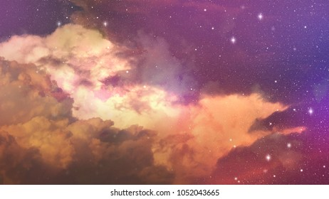 Colorful sky with stars and cloud in fantasy mode