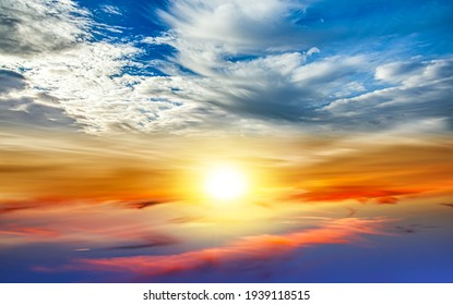 colorful sky with sun in clouds of altitude