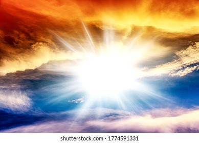 Colorful sky and sunrise. Natural landscape of the atmosphere