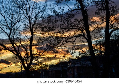 Colorful sky sunset with buildings and telephone wires in Charlottesville, Virginia