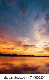 Colorful sky at sunset on the lake landscape
