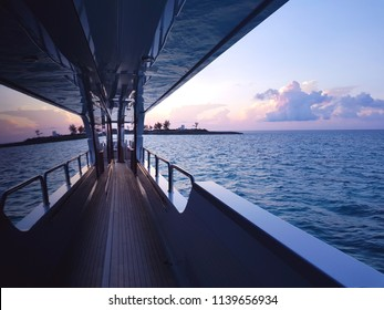 Colorful sky view from the side of a yacht in the Caribbean
