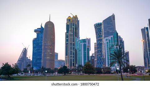 Colorful Skyline of Doha Qatar City during night during winter season.