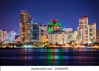 Colorful Skyline San Diego at Night. North San Diego Bay.