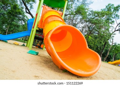 Colorful slider tunnel in a playground