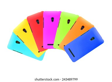 colorful smartphone on isolated background