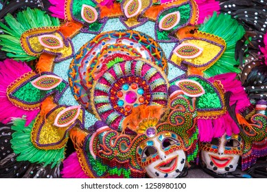Colorful smiling mask of Masskara Festival, Bacolod City, Philippines.