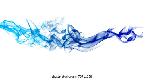 Colorful smoke isolated on white