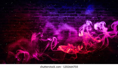 colorful smoke on a black background. Empty background of black brick wall, neon light, smoke.